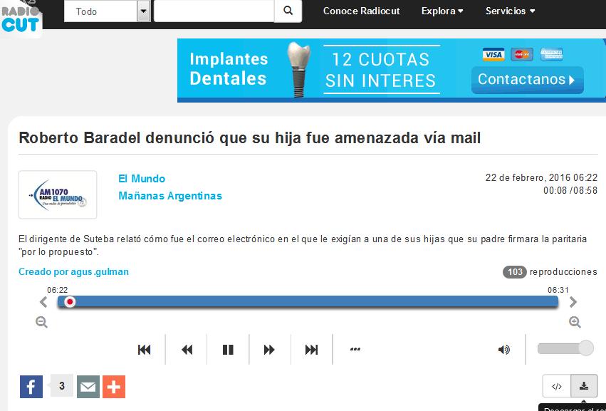 Roberto Baradel denunció que su hija fue amenazada vía mail - Radiocut