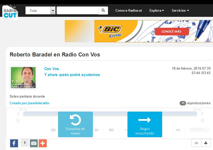 Roberto Baradel en Radio Con Vos - Radiocut