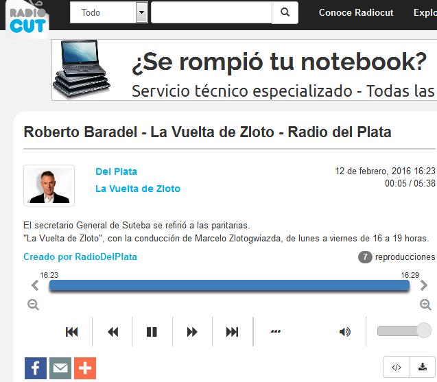 Roberto Baradel - La Vuelta de Zloto - Radio del Plata - Radiocut