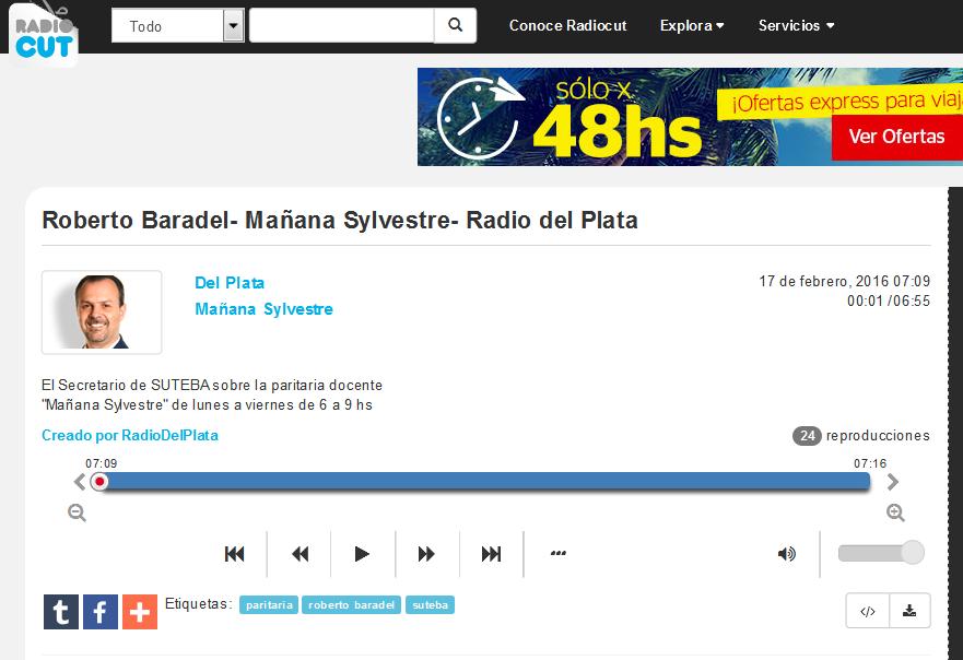 Roberto Baradel- Mañana Sylvestre- Radio del Plata - Radiocut