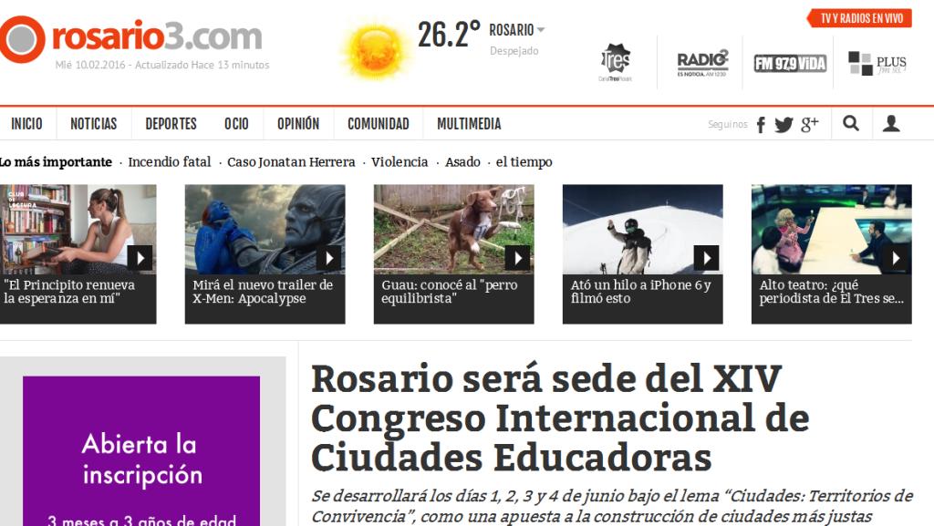 Rosario será sede del XIV Congreso Internacional de Ciudades Educadoras - Rosario3.com