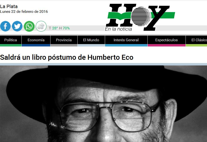 Saldrá un libro póstumo de Humberto Eco - Diario Hoy