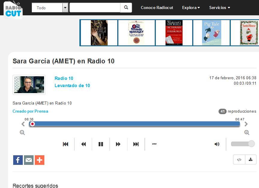 Sara García (AMET) en Radio 10 - Radiocut