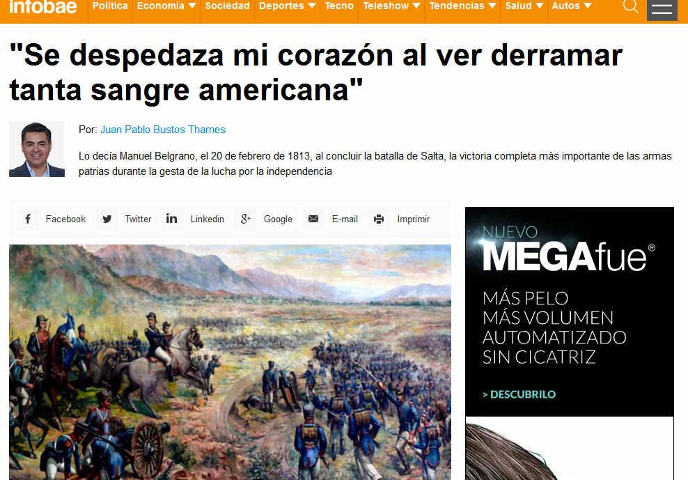 Se despedaza mi corazón al ver derramar tanta sangre americana - Manuel Belgrano - Infobae