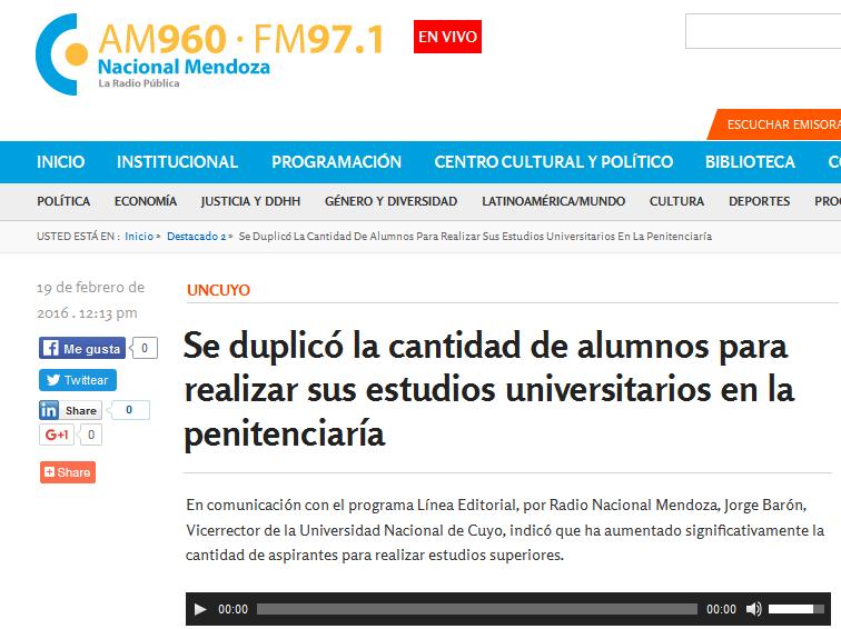 Se duplicó la cantidad de alumnos para realizar sus estudios universitarios en la penitenciaría - Radio Nacional Mendoza