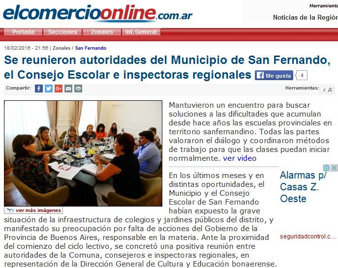 Se reunieron autoridades del Municipio de San Fernando, el Consejo Escolar e inspectoras regionales - www.elcomercioonline.com.ar