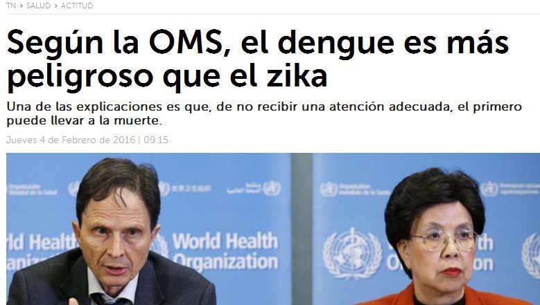 Según la OMS el dengue es más peligroso que el zika