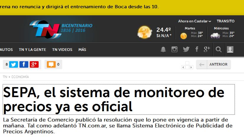 SEPA, el sistema de monitoreo de precios ya es oficial - TN.com.ar