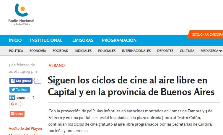 Siguen los ciclos de cine al aire libre en Capital y en la provincia de Buenos Aires - Radio Nacional Argentina. La Radio Pública.