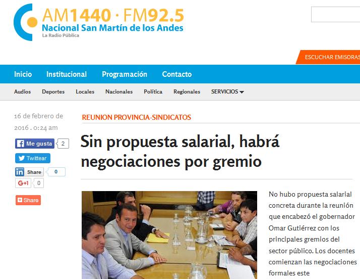 Sin propuesta salarial, habrá negociaciones por gremio - Radio Nacional San Martín de los Andes