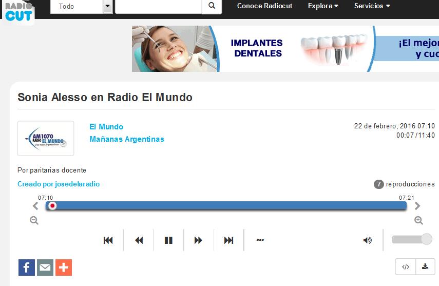 Sonia Alesso en Radio El Mundo - Radiocut
