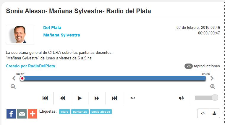 Sonia Alesso- Mañana Sylvestre- Radio del Plata - Radiocut