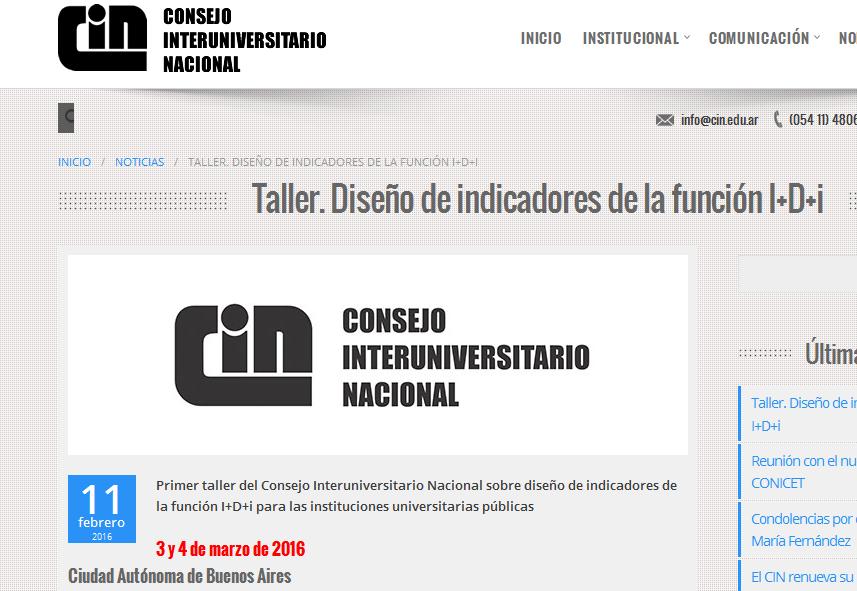Taller. Diseño de indicadores de la función I D i - CIN