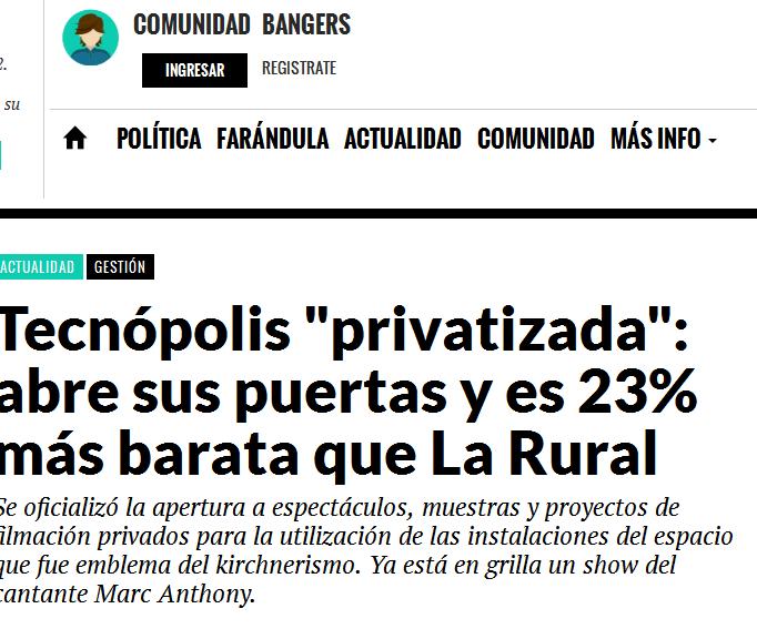 Tecnópolis 'privatizada' abre sus puertas y es 23% más barata que La Rural - Big Bang! News - Noticia de Actualidad