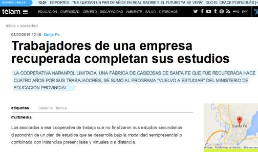 Trabajadores de una empresa recuperada completan sus estudios - Télam - Agencia Nacional de Noticias