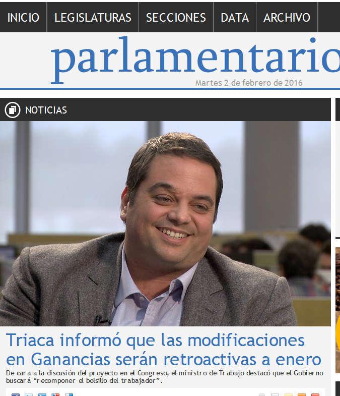 Triaca informó que las modificaciones en Ganancias serán retroactivas a enero - Noticias - Parlamentario