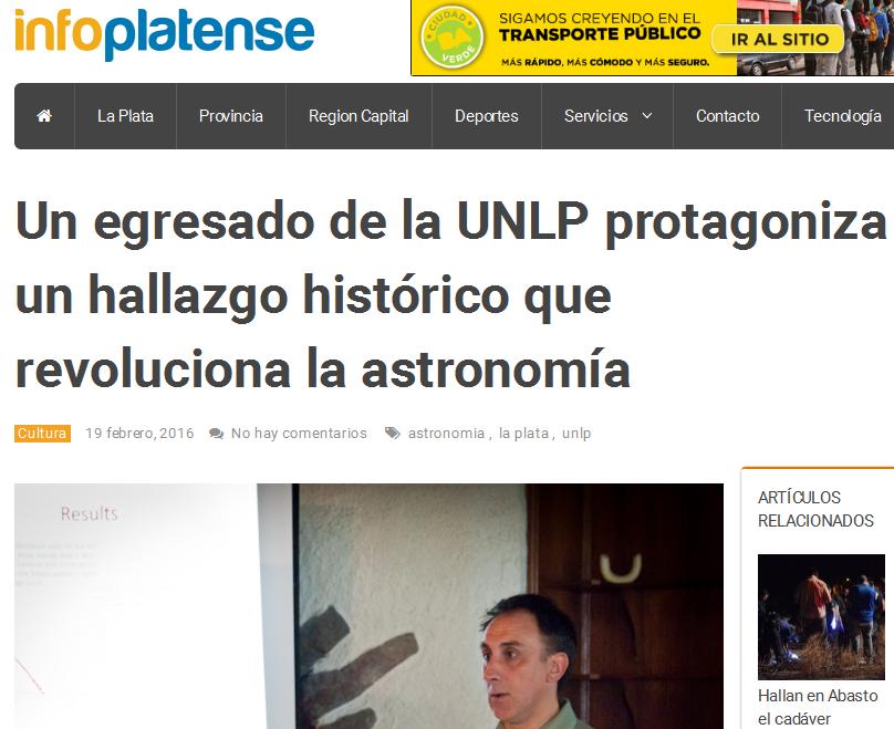 Un egresado de la UNLP protagoniza un hallazgo histórico que revoluciona la astronomía - Info Platense