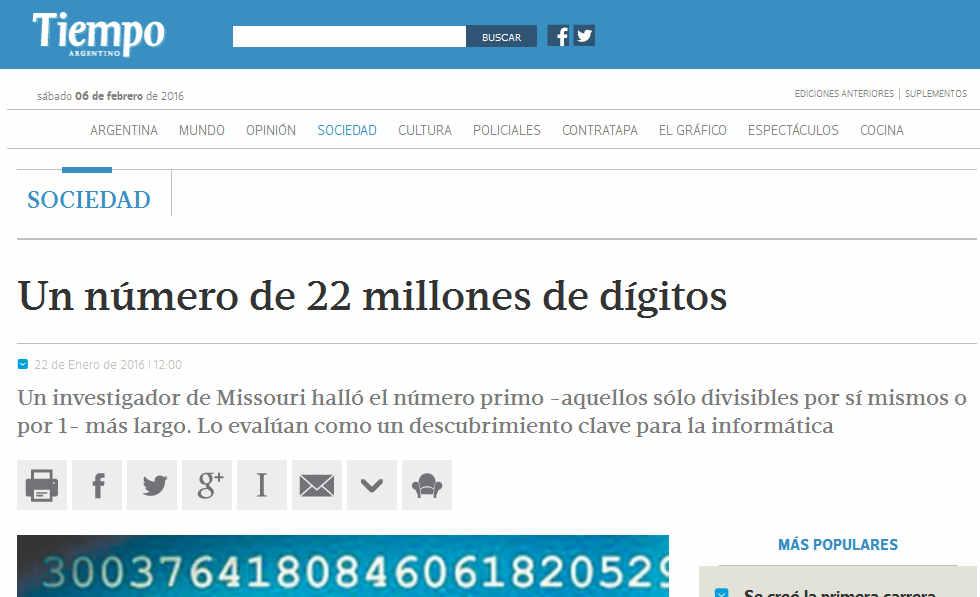 Un número de 22 millones de dígitos - Sociedad - Tiempo Argentino