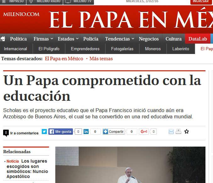 Un Papa comprometido con la educación - Grupo Milenio