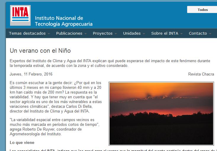 Un verano con el Niño - INTA Instituto Nacional de Tecnología Agropecuaria