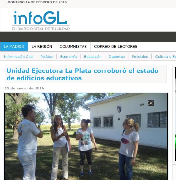 Unidad Ejecutora La Plata corroboró el estado de edificios educativos - InfoGL - El Portal de Noticias de La Madrid