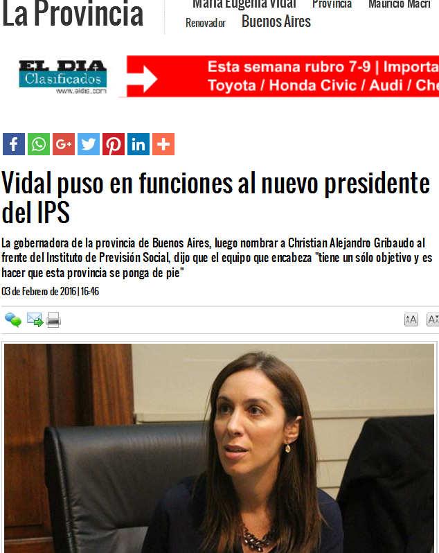 Vidal puso en funciones al nuevo presidente del IPS La Provincia