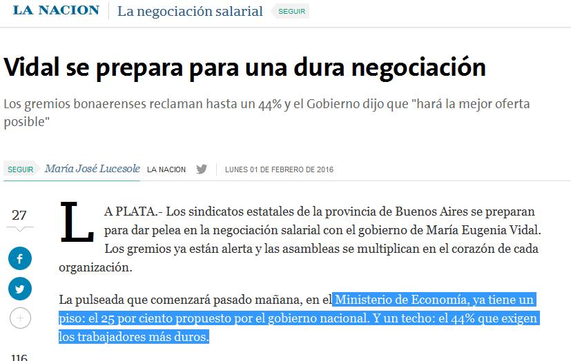 Vidal se prepara para una dura negociación - 01.02.2016 - LA NACION