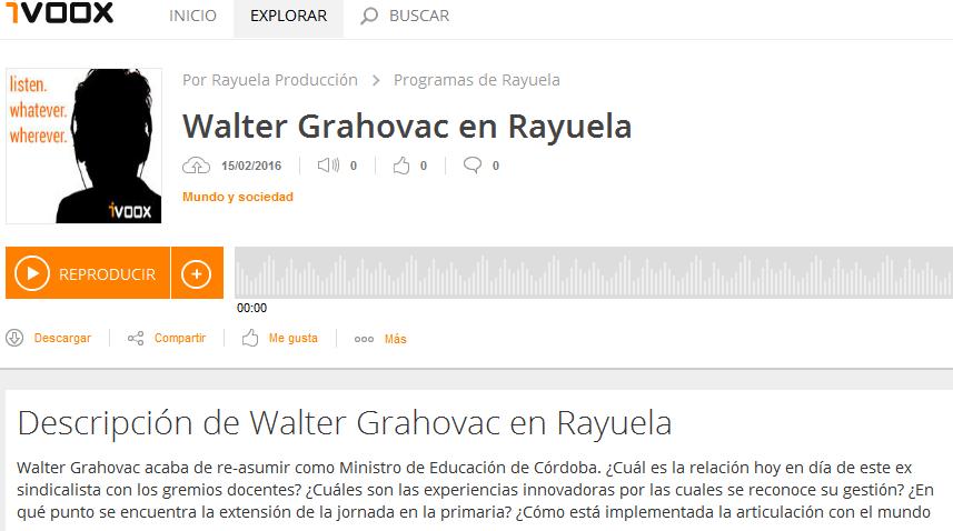 Walter Grahovac en Rayuela en Programas de Rayuela - iVoox