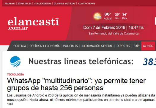 WhatsApp 'multitudinario' ya permite tener grupos de hasta 256 personas - El Ancasti de Catamarca