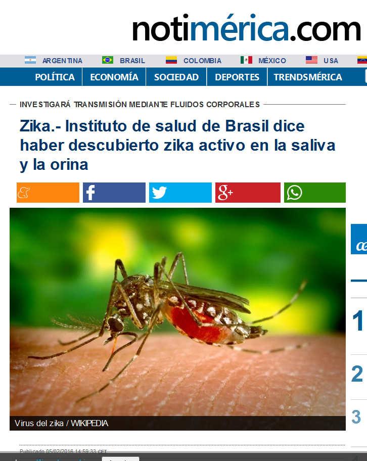 Zika.- Instituto de salud de Brasil dice haber descubierto zika activo en la saliva y la orina