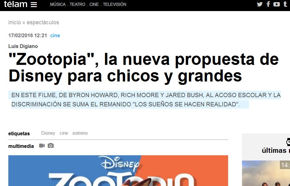 'Zootopia', la nueva propuesta de Disney para chicos y grandes - Télam - Agencia Nacional de Noticias