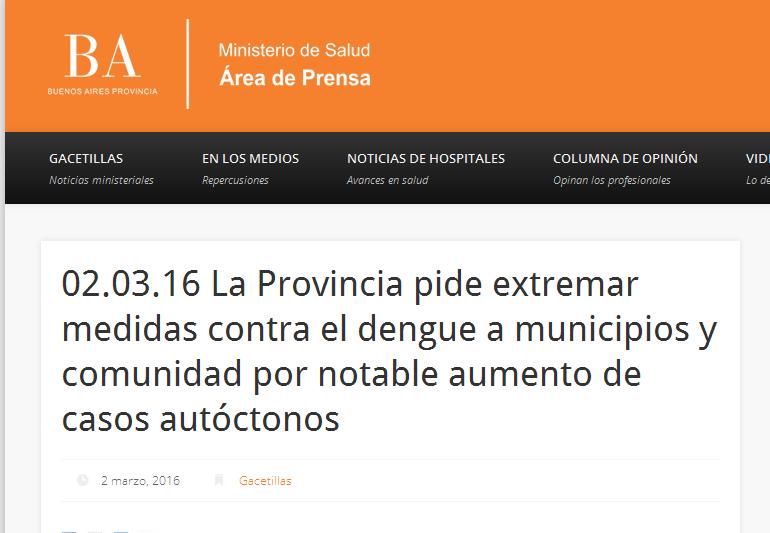 02.03.16 La Provincia pide extremar medidas contra el dengue a municipios y comunidad por notable aumento de casos autóctonos