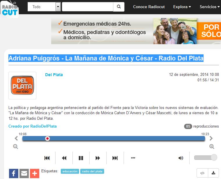 Adriana Puiggrós - La Mañana de Mónica y César - Radio Del Plata - Radiocut