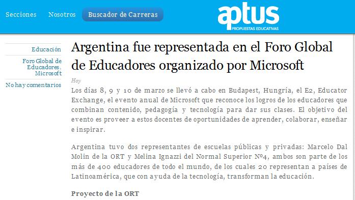 Argentina fue representada en el Foro Global de Educadores organizado por Microsoft