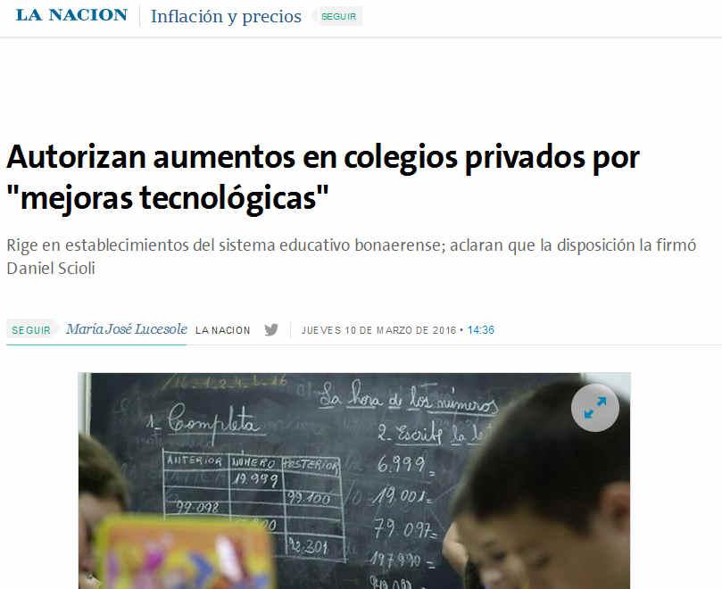 Autorizan aumentos en colegios privados por 'mejoras tecnológicas' - 10.03.2016 - LA NACION