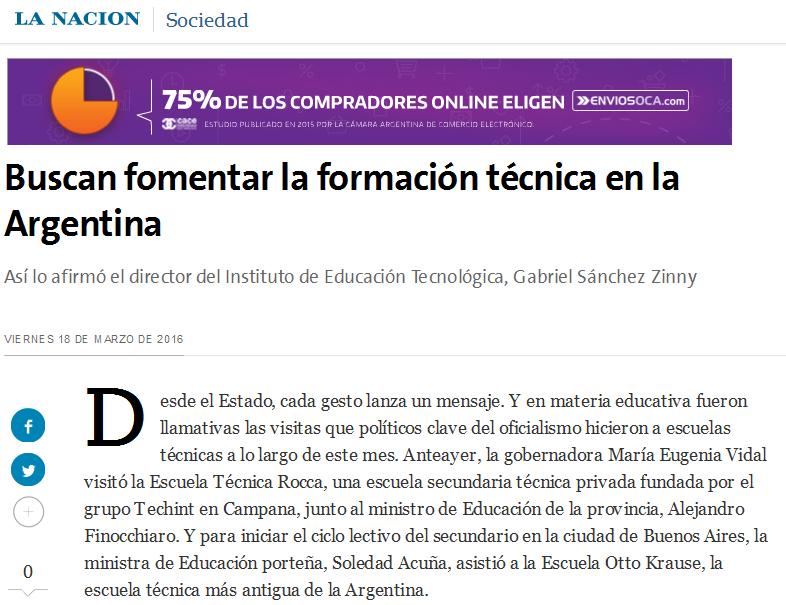 Buscan fomentar la formación técnica en la Argentina - 18.03.2016 - LA NACION