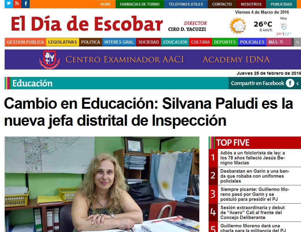 Cambio en Educación Silvana Paludi es la nueva jefa distrital de Inspección – Escobar Noticias de Escobar El Día de Escobar