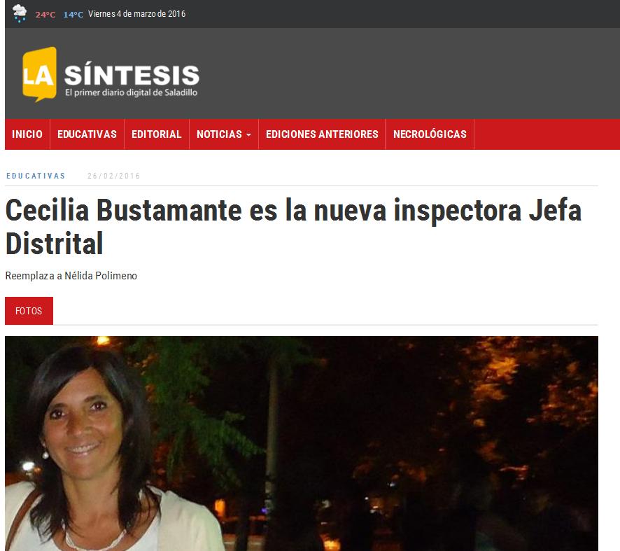 Cecilia Bustamante es la nueva inspectora Jefa Distrital