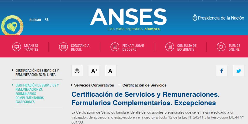 Certificación de Servicios y Remuneraciones. Formularios Complementarios. Excepciones - Servicios Corporativos - Certificación de Servicios - ANSES