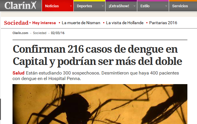 Confirman 216 casos de dengue en Capital y podrían ser más del doble