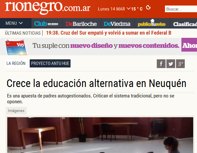 Crece la educación alternativa en Neuquén