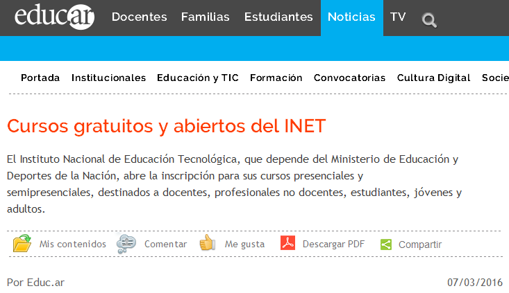 Cursos gratuitos y abiertos del INET - Noticias educ.ar