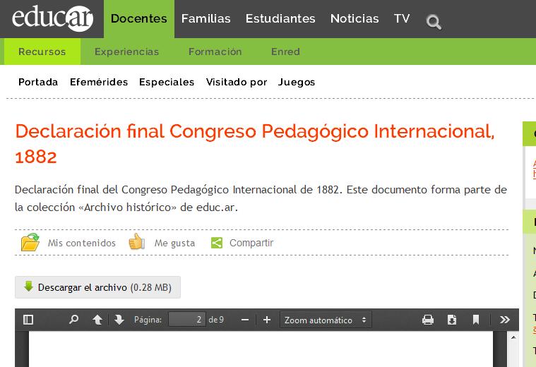 Declaración final Congreso Pedagógico Internacional, 1882 - Recursos educ.ar