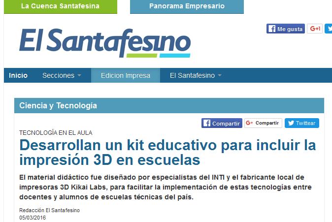 Desarrollan un kit educativo para incluir la impresión 3D en escuelas
