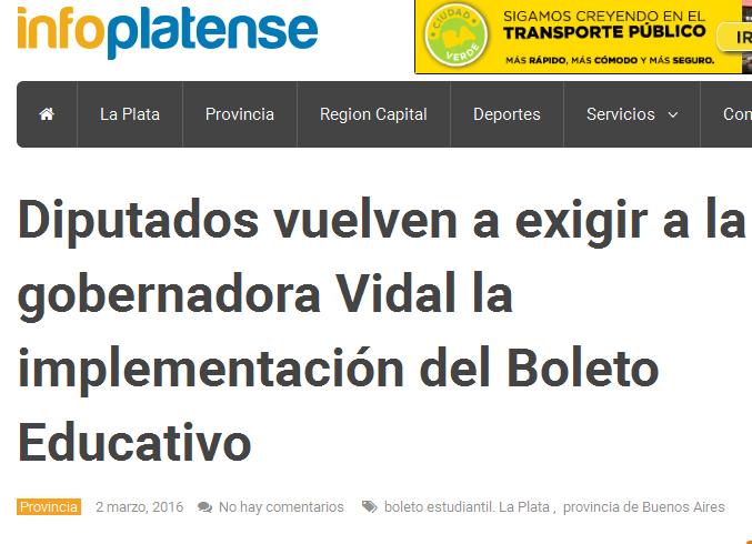 Diputados vuelven a exigir a la gobernadora Vidal la implementación del Boleto Educativo - Info Platense