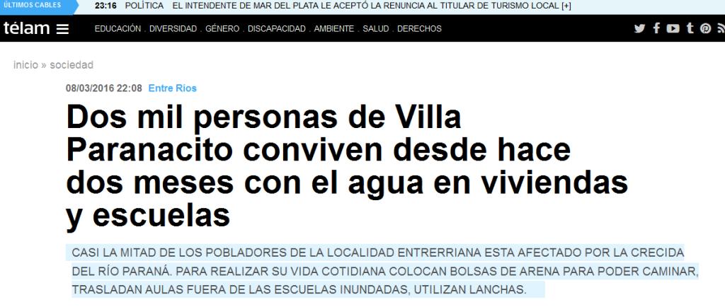 Dos mil personas de Villa Paranacito conviven desde hace dos meses con el agua en viviendas y escuelas - Télam - Agencia Nacional de Noticias