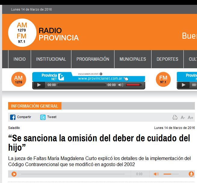 """""""Se sanciona la omisión del deber de cuidado del hijo"""" - Radio Provincia"""