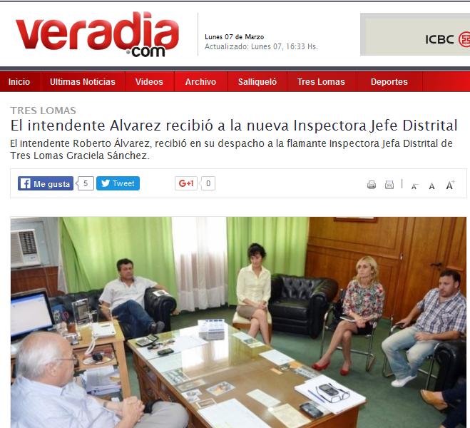 El intendente Alvarez recibió a la nueva Inspectora Jefe Distrital - Veradia.com
