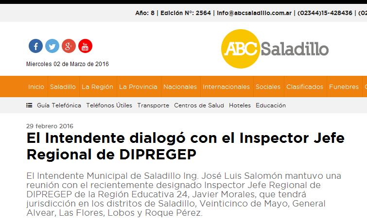 El Intendente dialogó con el Inspector Jefe Regional de DIPREGEP - ABC Saladillo - Noticias de nuestra ciudad