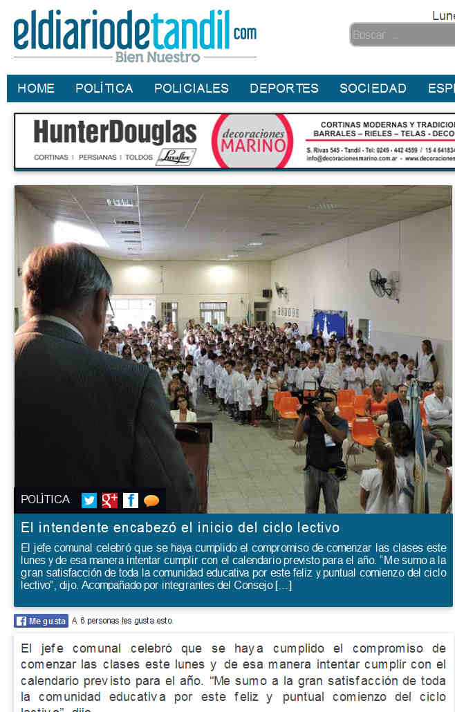 El intendente encabezó el inicio del ciclo lectivo - El Diario de Tandil